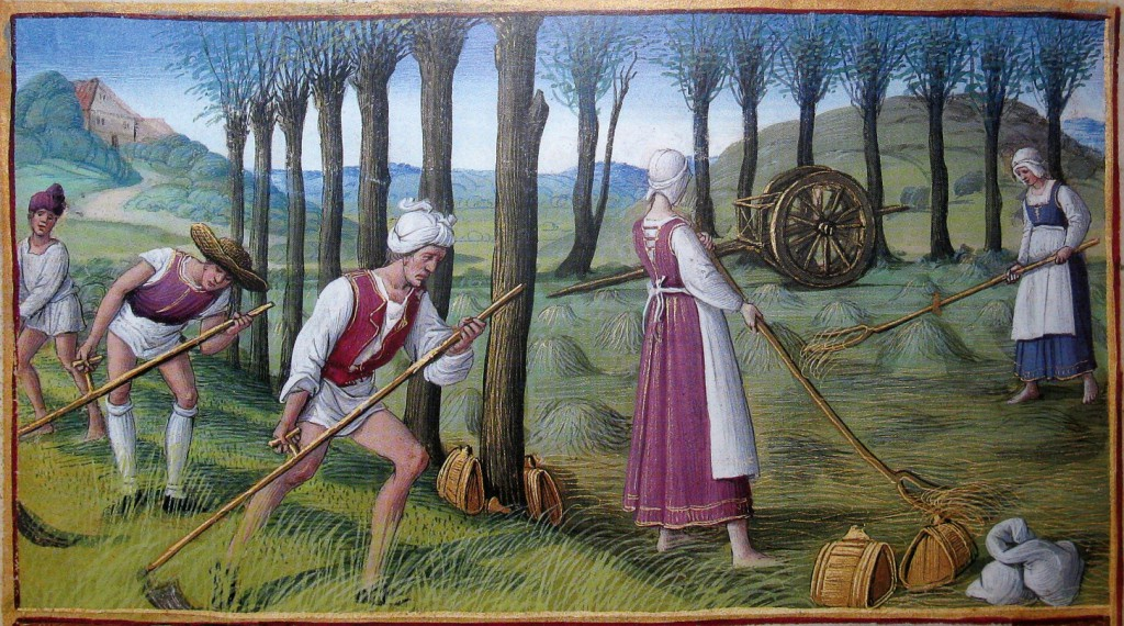 Men and women working in the field. June: Mowing, The Morgan Library & Museum, 'Hours of Henry VIII', MS H.8 (fol. 3v)
