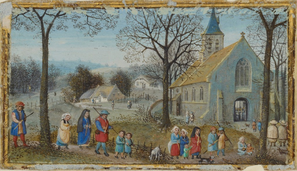 Simon Bening, Villagers on their way to the church. 'Book of Hours', J. Paul Getty Museum, MS 50