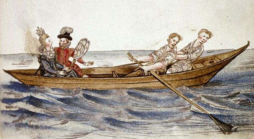 Boat on the Thames in Friedrich Rechlinger's Album Amicorum (c. 1600), Bodleian Library, MS Douce 244, fol. 49r.