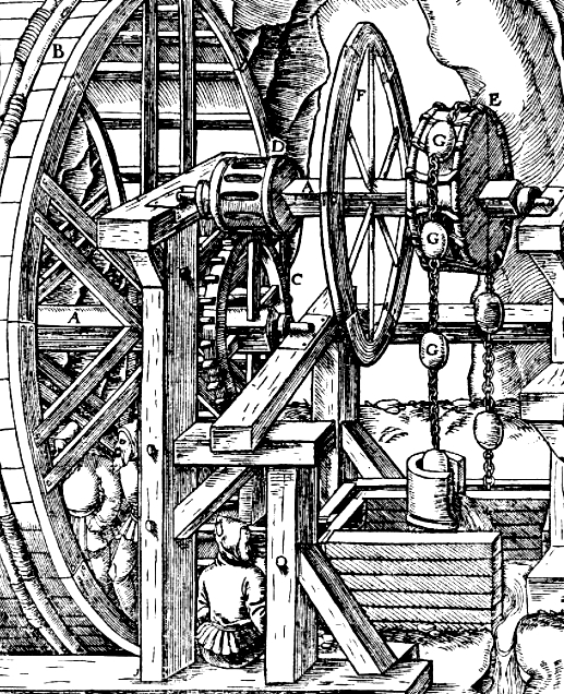 discovery of the month everyday life and fatal hazard in sixteenth Flathead Shovel treadwheel pump detail from ge ius agricola de re metallica basel 1556 p 155